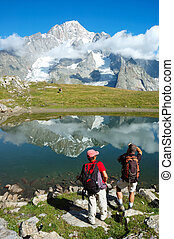 Mountain trekkers - View of the south face of Mont Blanc...