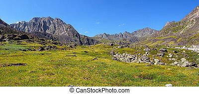 Mountain tundra at noon in July. Dinosaur Peak (left). Sayan mountains. Republic of Buryatia