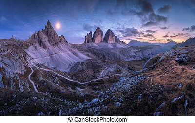 Mountain valley at beautiful night. Tre Cime in Dolomites, Italy