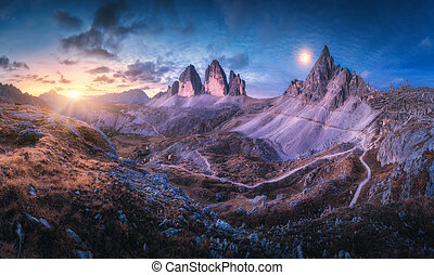 Mountain valley at beautiful sunset. Panoramic landscape