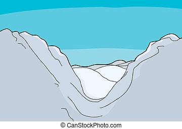 Winter mountain valley background cartoon illustration