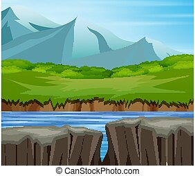 Mountain valley cliff tree nature landscape
