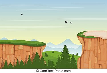 Mountain Valley Cliff Tree Nature Landscape Vector Illustration