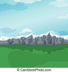 Mountain valley, green pastures. Vector landscape