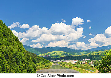Mountain valley on a background of the river