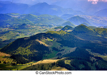 Mountain valley seen from above - Mountain landscape with an...