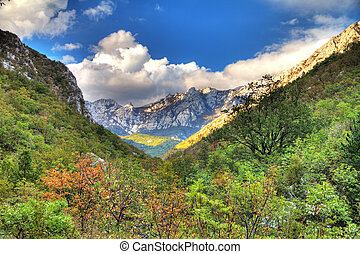 Vibrant mountain valley in the mountains of Velebit national park in Croatia