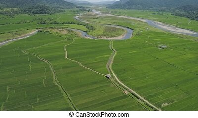 Mountain valley with farmlands in the Philippines - Mountain...