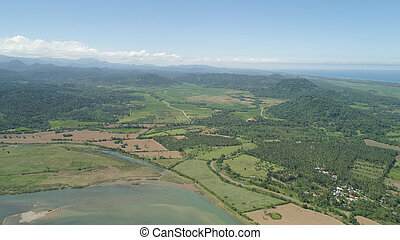 Mountain valley with farmlands in the Philippines