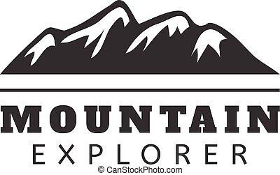 Mountain vector icon badge. Mountain silhouette elements....
