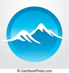 Mountain vector icon isolated on white background - stylized image.