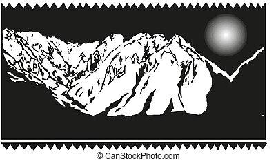 Mountain vector illustration, landscape icon
