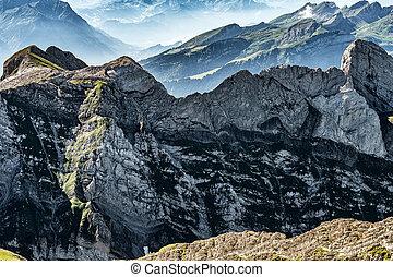 Mountain view from Mount Saentis, Switzerland , Swiss Alps....