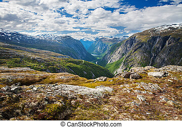 mountain view on Aurstaupet waterfall near Aursjovegen,...