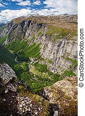 mountain view on Aurstaupet waterfall near Aursjovegen,...