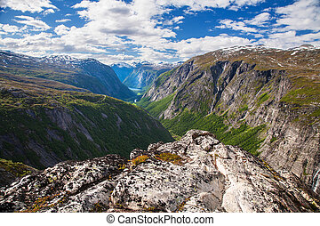 mountain view on Eikesdalen from Aurstaupet viewpoint near...