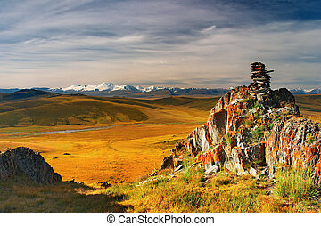 Mountain view, Plateau Ukok, sunrise