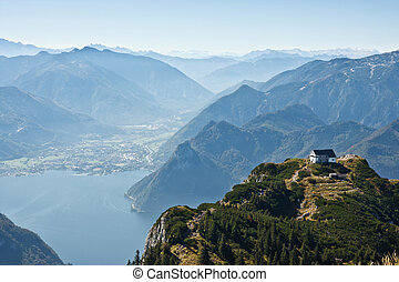 Mountain view with a lake Traunsee in Austria