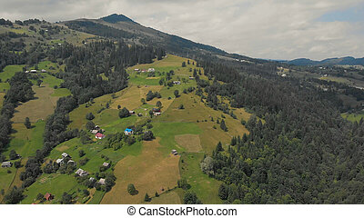 Mountain village aerial view.