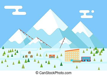 Mountain village hotel ski resort holidays bus shop funicular flat design vector illustration