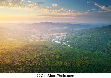 mountain., village