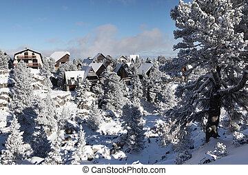 Mountain village in snow