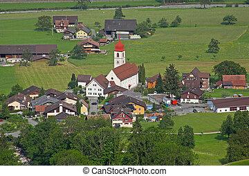 Mountain village in Swiss alps, Switzerland, Euripe