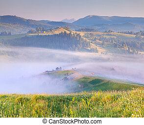 Mountain village in the mist. Summer sunrise.
