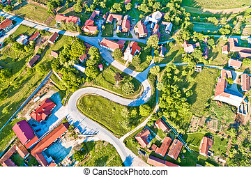 Mountain village of Apatovec aerial view, Kalnik mountain in...