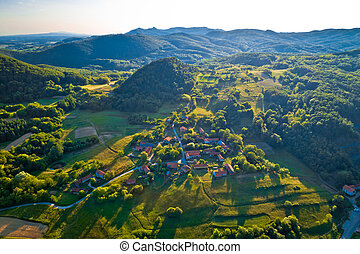 Mountain village of Apatovec sunset aerial view, Kalnik...