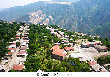 Mountain village view from altitude