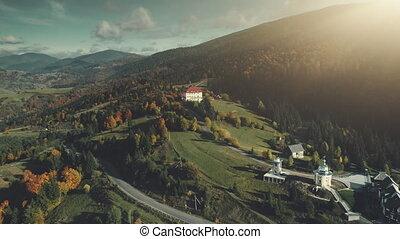 Mountain village wild valley sight aerial view - Mountain...
