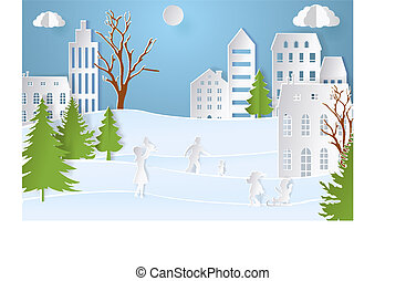 Mountain village with paper art style in color. Landscape city with people for Christmas postcard. vector illustration