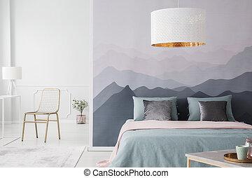 Mountain wallpaper in bedroom interior