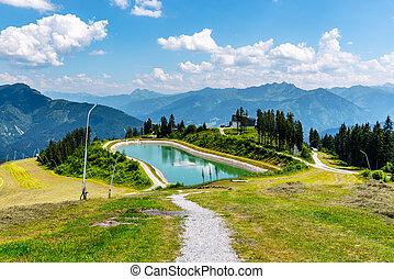 Mountain water reservoir in Austria