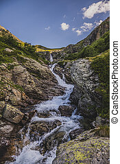 Mountain waterfall. Caucasus, Karachai-Cherkess Republic -...