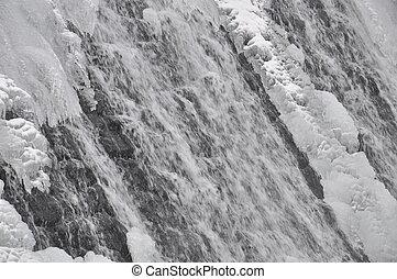 Mountain waterfall in winter