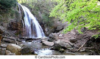 Mountain Waterfall landscape - Mountain Waterfall, spring...