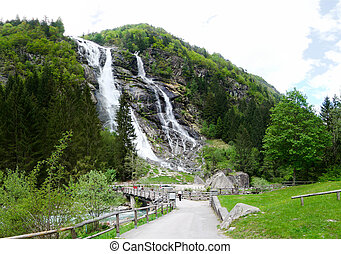 Mountain waterfall - landscape with forest road, fir trees and mountains