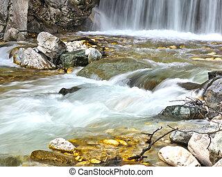 mountain waterfall long exposition