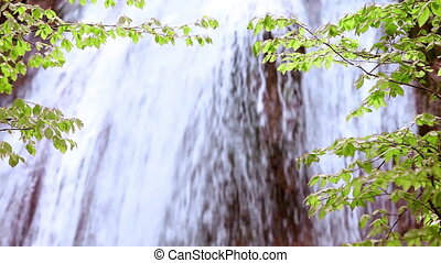 Waterfall, spring flow water
