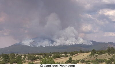 Mountain Wildfire - a wildfire in the mountains of northern...