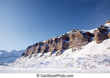 Mountain Winter Landscape - A panorama landscape on...