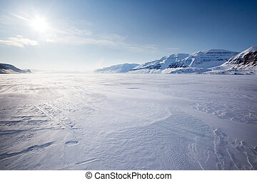 A panorama landscape on Spitsbergen Island, Svalbard, Norway