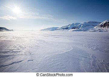 Mountain Winter Landscape - A panorama landscape on...