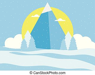 Mountain, winter landscape in a flat style. Snow-capped peaks, sun and clouds. Vector illustration
