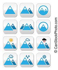 Mountain winter vector buttons set