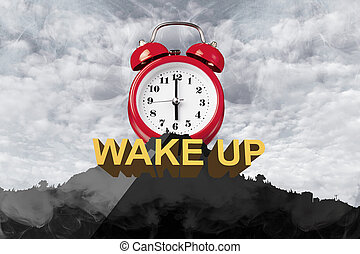mountain with a red clock with an alarm on top, concept wake up