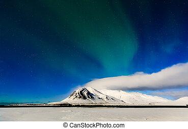 Mountain with Aurora borealis, Iceland