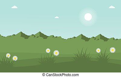 Mountain with beauty flower at spring landscape